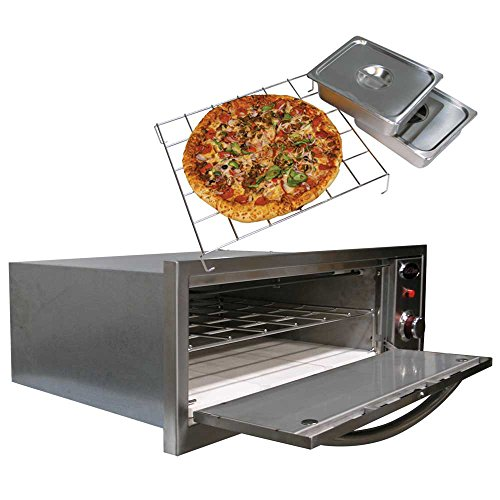 Cal-Flame-BBQ14967E-Oven-110V-2-in-1Includes-Pizza-Brick-Two-SS-with-Cover-Serving-pan-and-Rack-0-0
