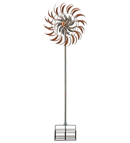 Copper-Patina-Leaf-Petals-Metal-Kinetic-Garden-Stake-Wind-Spinner-0-0