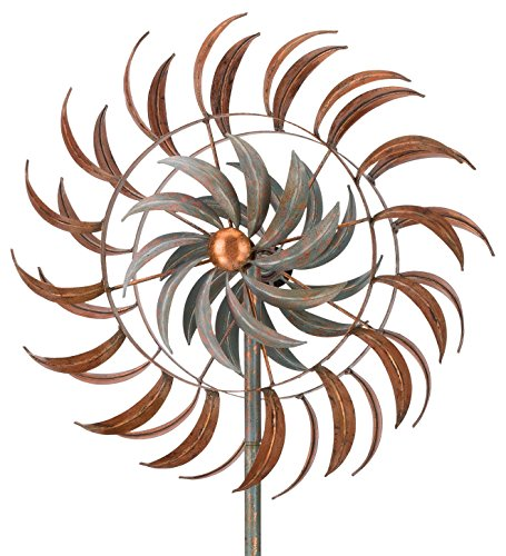 Copper-Patina-Leaf-Petals-Metal-Kinetic-Garden-Stake-Wind-Spinner-0