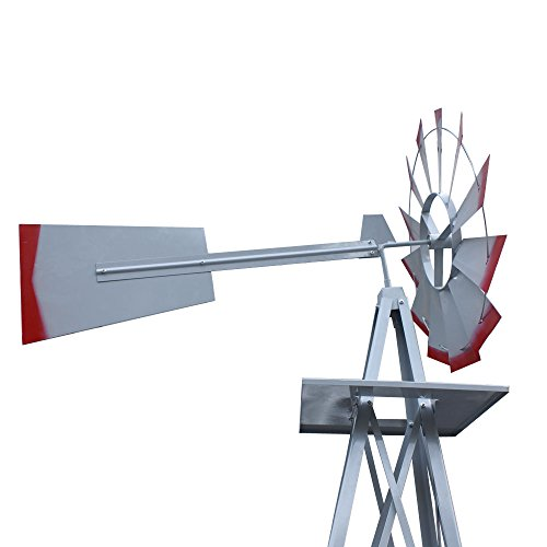 Decorative-8-Foot-Ornamental-Durable-Steel-Yard-Garden-Windmill-Weather-Vane-Most-Powerful-Design-with-No-Batteries-or-Electrical-Outlets-Needed-Spinner-is-Weather-Resistant-4-Leg-Designed-Silver-0-2