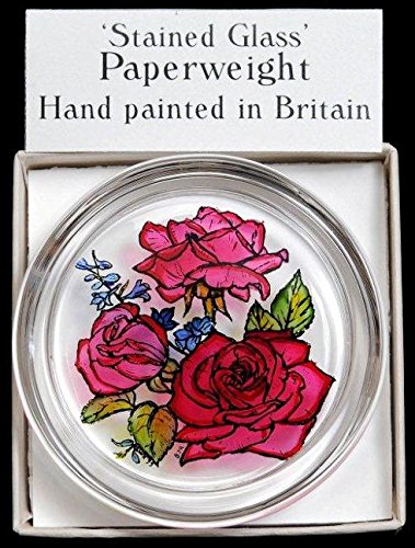 Decorative-Hand-Painted-Stained-Glass-Paperweight-in-a-Red-Roses-Design-0