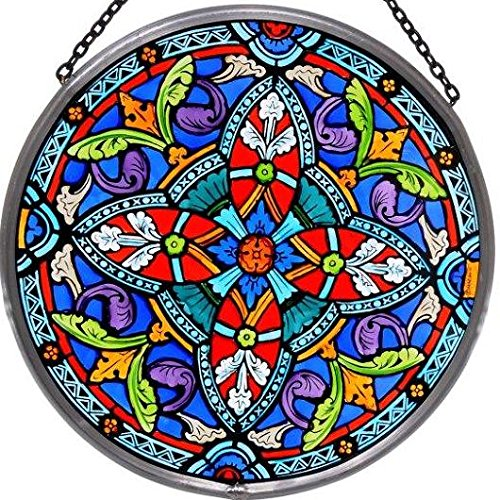 Decorative-Hand-Painted-Stained-Glass-Window-Sun-CatcherRoundel-in-an-Ornate-Quatrefoil-Design-0