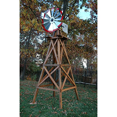 Decorative-Red-Wood-Backyard-Windmill-10-ft-0