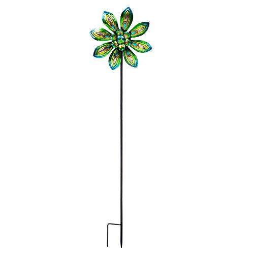 Evergreen-Garden-Peacock-Outdoor-Safe-Metal-Kinetic-Wind-Spinner-Garden-Stake-0