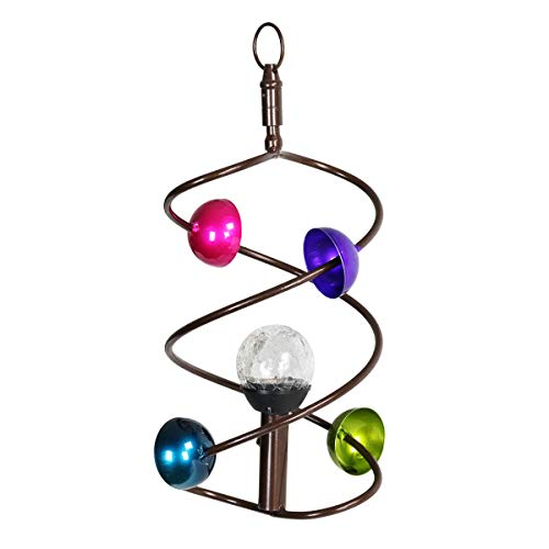 Exhart-Moving-Art-Solar-Wind-Spinner-Changes-Colors–White-Glass-Ball-Wind-Spinner-wMobile-Art-Helix-Design-Rainbow-Spectrim-8in-l-x-8in-w-x-15in-h-Metal-Wind-Spinner-Spinning-Mobile-Art-Decor-0