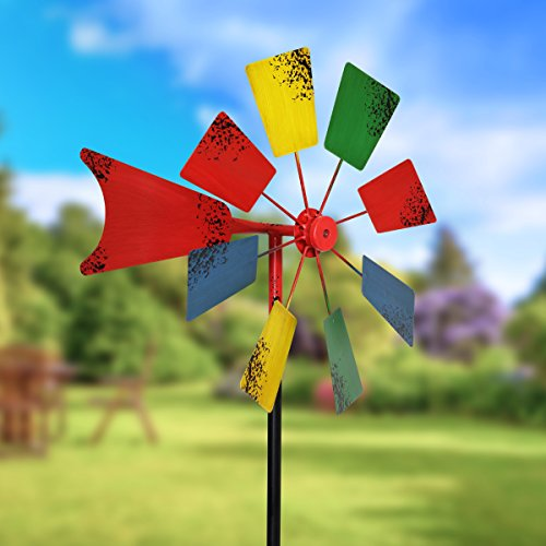 Exhart-Vintage-Windmill-Spinner-Garden-Stake-Blades-Move-in-Wind-MulticolorRainbow-16-L-x-16-W-x-78-H-0-0