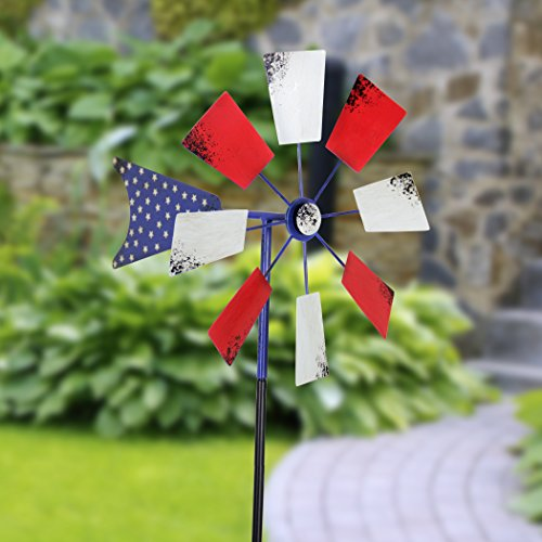 Exhart-Yard-Pinwheel-Decorations–American-Flag-Windmill-Spinner–USA-Garden-Windmill-wWeather-Resistant-Americana-Metal-Blades-Patriotic-Decorations-Garden-Dcor-0-0