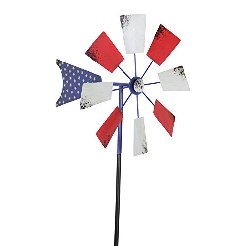Exhart-Yard-Pinwheel-Decorations–American-Flag-Windmill-Spinner–USA-Garden-Windmill-wWeather-Resistant-Americana-Metal-Blades-Patriotic-Decorations-Garden-Dcor-0