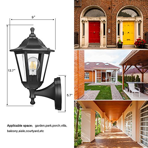 FUDESY-Outdoor-Wall-Lantern-LED-Light-Fixtures-Pro-Plastic-Material-Innovation-Waterproof-Exterior-Mount-Black-Lanterns-Lamp-for-Outside-Porch-Garage-Pack-of-2-0-0