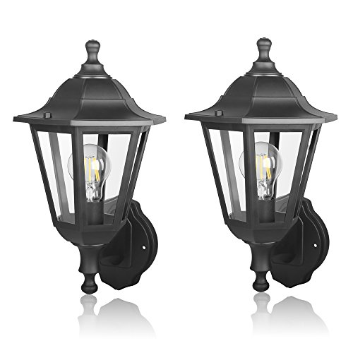 FUDESY-Outdoor-Wall-Lantern-LED-Light-Fixtures-Pro-Plastic-Material-Innovation-Waterproof-Exterior-Mount-Black-Lanterns-Lamp-for-Outside-Porch-Garage-Pack-of-2-0