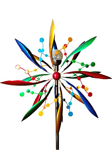 Fancy-Gardens-7-foot-tall-Festive-Flower-Wind-Spinner-with-Solar-Ball-Decorative-Lawn-Ornament-Wind-Mill-Unique-Outdoor-Lawn-and-Garden-Dcor-Solar-wind-spinner-0