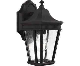 Feiss-OL5420BK-Cotswold-Lane-Outdoor-Patio-Lighting-Wall-Lantern-Black-1-Light-7W-x-12H-100watts-0-0