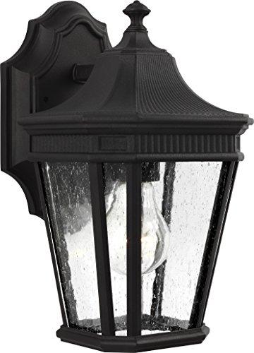 Feiss-OL5420BK-Cotswold-Lane-Outdoor-Patio-Lighting-Wall-Lantern-Black-1-Light-7W-x-12H-100watts-0