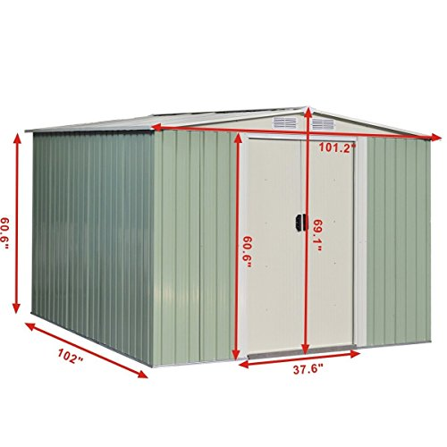 GHP-Outdoor-1015Lx1012Wx691H-Durable-White-and-Gray-StorageShed-Tool-House-0-0