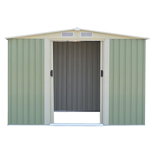 GHP-Outdoor-1015Lx1012Wx691H-Durable-White-and-Gray-StorageShed-Tool-House-0-2