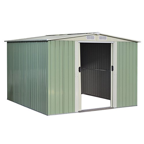 GHP-Outdoor-1015Lx1012Wx691H-Durable-White-and-Gray-StorageShed-Tool-House-0
