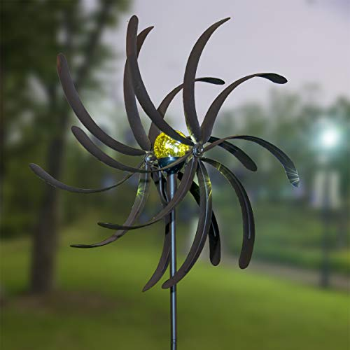 GIGALUMI-Solar-Wind-Spinner-with-Crackle-Glass-Ball-Solar-Lights-255-Dia-Bronze-Powder-Coated-Finish-Dual-Rotors-Wind-Sculpture-for-Yard-Art-or-Garden-Decoration-0-0