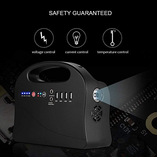 Generator-Power-Station-200Watt-Portable-Home-Camping-Emergency-Power-Supply-for-CPAP-Charged-by-Solar-PanelWall-Outlet-Outputs-AC-110V-4USB-2DC-12V10ACompassLED-Flashlight-for-Camping-Travel-0-2