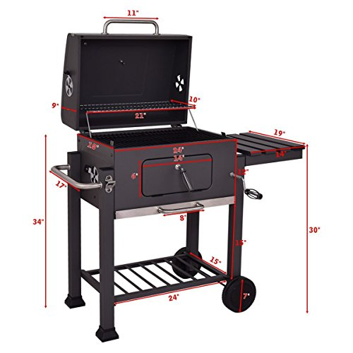 Globe-House-Products-GHP-642-Square-Inch-Cooking-Area-Porcelain-Enameed-Black-Rolling-BBQ-Charcoal-Grill-0-0