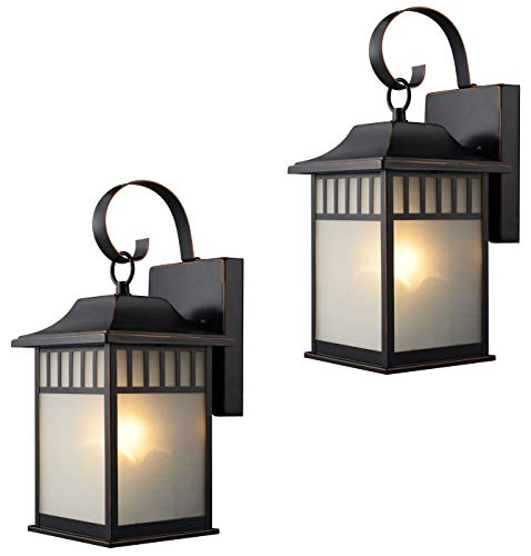 Hardware-House-21-2502-22-9517-Outdoor-Patio-Porch-Wall-Mount-Exterior-Lighting-Lantern-Fixtures-with-Frosted-Glass-Twin-Pack-0