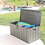 Heavy-Duty-Reliable-Easy-Clean-Large-Space-Versatile-Lifetime-Rough-Cut-150-gallon-Deck-Box-Lockable-Lid-with-Spring-Hinge-Handsome-Grey-Perfect-For-Outdoor-Storage-Fun-Tailgating-Picnics-0