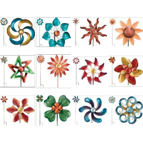 Kinetic-Wind-Spinner-Metal-Garden-Spinweel-12Diamx48H-Ruffled-Flower-Regal-Art-05234-0