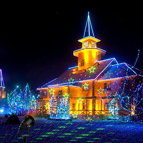 Christmas Light Projector.Laser Halloween Christmas Lights Red And Green Moving Laser With 8 Kinds Of Patterns Waterproof And Outdoor Indoor Rotating Light Projector