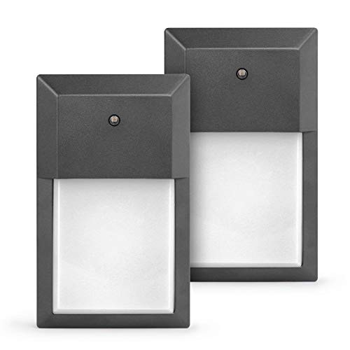 Lit-Path-Outdoor-LED-Wall-Lantern-Wall-Sconce-as-Porch-Light-12W-Auto-onOff-from-Dusk-to-Dawn-1000-Lumens-Aluminum-Housing-Plus-PC-ETL-and-ES-Qualified-2-Pack-0