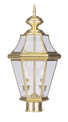Livex-Lighting-2264-02-Georgetown-2-Light-Outdoor-Post-HeadPolished-Brass-0