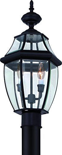 Luxury-Colonial-Outdoor-Post-Light-Large-Size-21H-x-11W-with-Tudor-Style-Elements-Versatile-Design-High-End-Black-Silk-Finish-and-Beveled-Glass-UQL1148-by-Urban-Ambiance-0
