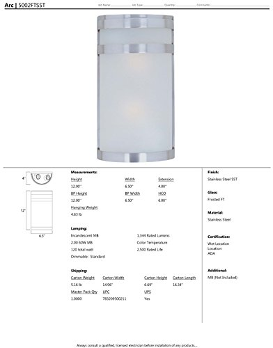 Maxim-5002FTSST-Arc-2-Light-Outdoor-Wall-Sconce-Lantern-Stainless-Steel-Finish-Frosted-Glass-MB-Incandescent-Incandescent-Bulb-60W-Max-Dry-Safety-Rating-Standard-Dimmable-Glass-Shade-Material-Rated-Lu-0-0