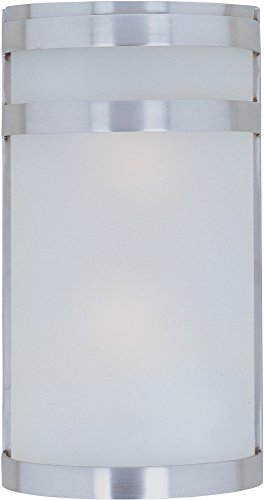 Maxim-5002FTSST-Arc-2-Light-Outdoor-Wall-Sconce-Lantern-Stainless-Steel-Finish-Frosted-Glass-MB-Incandescent-Incandescent-Bulb-60W-Max-Dry-Safety-Rating-Standard-Dimmable-Glass-Shade-Material-Rated-Lu-0