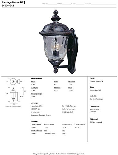 Maxim-Lighting-3422WGOB-Carriage-House-DC-2-Light-Straight-Mount-Outdoor-16-Inch-Wall-Lantern-Oriental-Bronze-Finish-0-0
