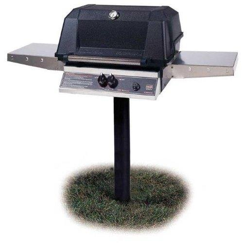 Mhp-Gas-Grills-Wnk4dd-Natural-Gas-Grill-W-Stainless-Grids-On-In-ground-Post-0