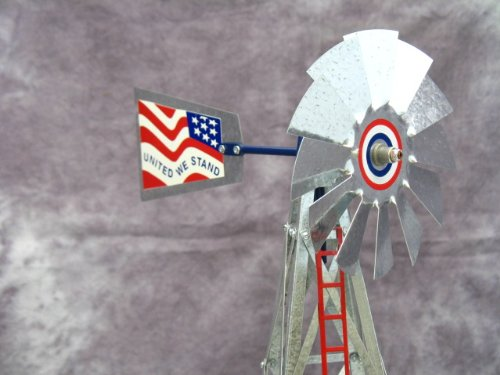 Mini-17-Inch-Made-in-USA-Windmill-galvanized-Steel-Red-White-Blue-Trim-Stars-and-Stripes-0-0
