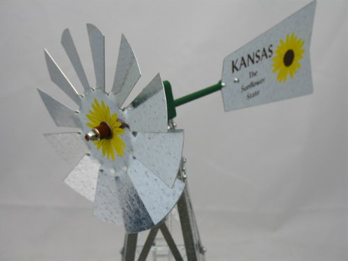 Mini-17-Inch-Made-in-USA-Windmill-galvanized-Steel-Yellow-Brown-Green-Trim-Kansas-Tail-0-1