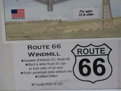 Mini-17-Inch-Made-in-the-USA-Windmill-galvanized-Steel-Black-White-Trim-Route-66-Tail-0-1