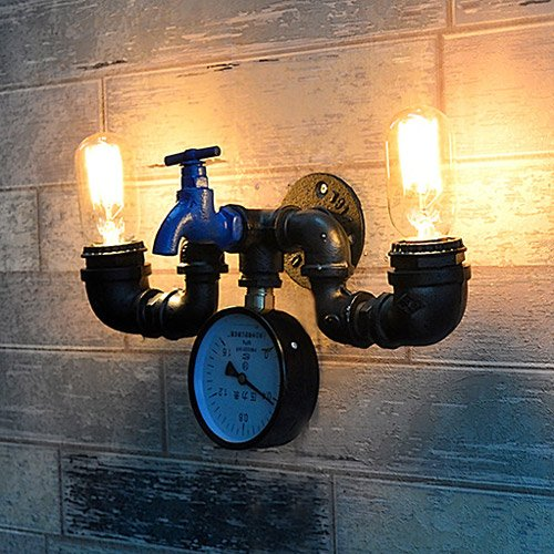 Modeen-Vintage-Industrial-Sturdy-Oil-Rubbed-Black-Wrought-Iron-Faucet-2-Lights-Water-Pipe-Pressure-Gauge-Wall-Light-Retro-Beacon-Tube-Wall-Lamp-Kitchen-Restaurant-Hotel-Barn-Lighting-Fixture-0-1