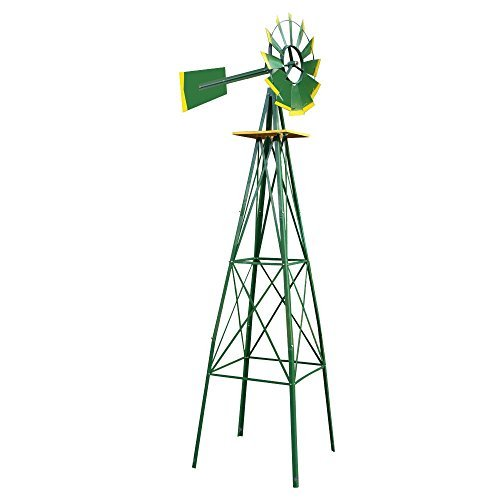 New-8FT-Green-Metal-Windmill-Yard-Garden-Decoration-Weather-Rust-Resistant-Wind-Mill-0
