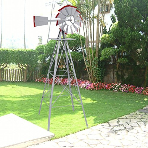 New-8Ft-Tall-Windmill-Ornamental-Wind-Wheel-Silver-Gray-And-Red-Garden-Weather-Vane-0-0