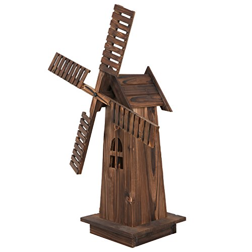 Nova-Microdermabrasion-34-Wooden-Dutch-Windmill-for-Garden-Yard-Classic-Old-Decorative-Windmill-Brown-0-2