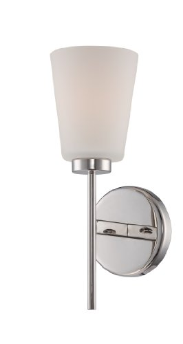 Nuvo-Lighting-Nuvo-Lighting-605211-Benson-One-Light-Vanity-CUL-Damp-Location-Satin-White-Glass-Polished-Nickel-0
