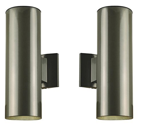 One-Light-Outdoor-Wall-Fixture-Polished-Graphite-Finish-on-Steel-Cylinder-2-Pack-0