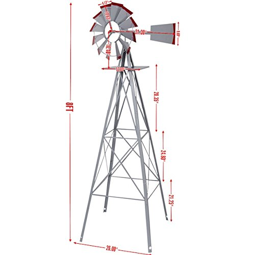 Ornamental-Windmill-Windspinner-8FT-Tall-Wind-Wheel-Outdoor-Patio-Garden-Yard-Backyard-Deck-Furniture-Dcor-Heavy-Duty-Steel-Weather-Vane-Durable-Wind-Spinner-Wheel-Turns-Quietly-Effortlessly-0-0