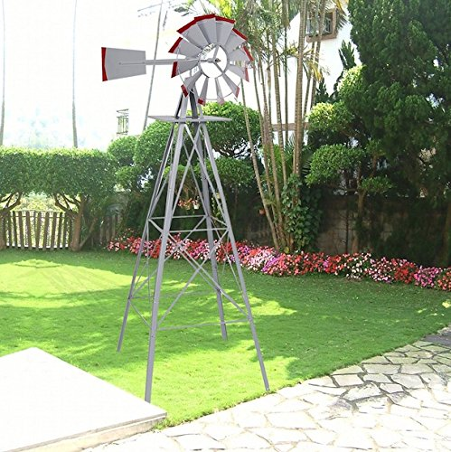 Ornamental-Windmill-Windspinner-8FT-Tall-Wind-Wheel-Outdoor-Patio-Garden-Yard-Backyard-Deck-Furniture-Dcor-Heavy-Duty-Steel-Weather-Vane-Durable-Wind-Spinner-Wheel-Turns-Quietly-Effortlessly-0-2