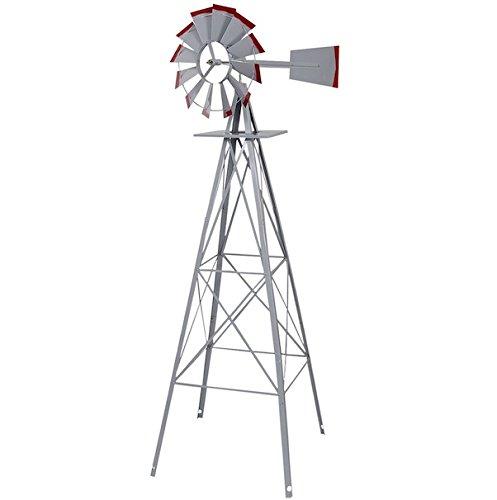 Ornamental-Windmill-Windspinner-8FT-Tall-Wind-Wheel-Outdoor-Patio-Garden-Yard-Backyard-Deck-Furniture-Dcor-Heavy-Duty-Steel-Weather-Vane-Durable-Wind-Spinner-Wheel-Turns-Quietly-Effortlessly-0