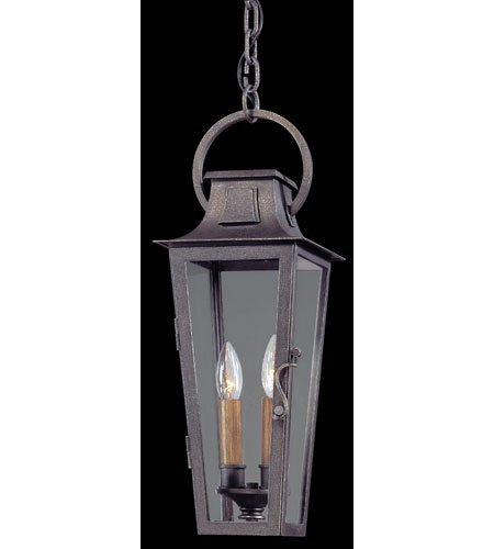 Outdoor-Pendant-2-Light-With-Aged-Pewter-Finish-Hand-Worked-Iron-Material-Candelabra-7-inch-Wide-120-Watts-0
