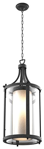 Outdoor-Pendant-2-Light-with-Hammered-Black-Finish-Medium-Bulbs-32-inch-120-Watts-0