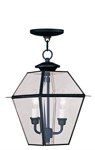Outdoor-Pendants-2-Light-with-Clear-Beveled-Glass-Black-Size-9-in-120-Watts-World-of-Crystal-0