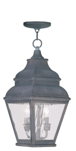 Outdoor-Pendants-2-Light-with-Clear-Water-Glass-Charcoal-Size-8-in-120-Watts-World-of-Crystal-0